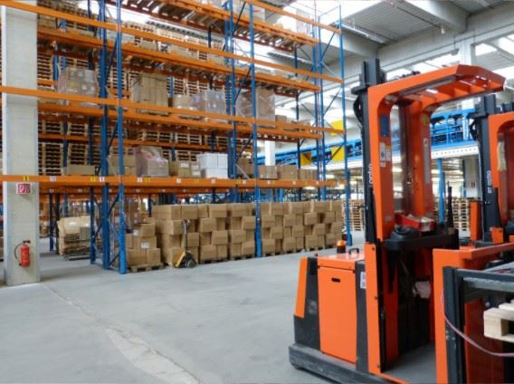 forklift machine in a warehouse